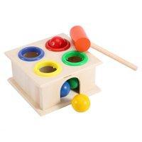 HURRISE Novel Kids Hammering Game Wooden Ball Hammer Box Children Early Learning Educational Toy, Child Gift,Knock