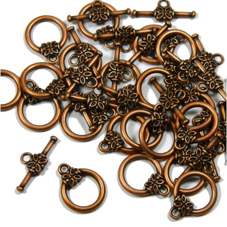 Crimp Toggle Clasps (19 Antiqued Copper Plated Brass Jewelry Toggle Clasps 14mm Flower)