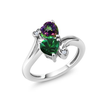 1.66 Ct Heart Shape Green Mystic Topaz Green Simulated Emerald 925 Silver Ring (Mystic Topaz Heart)
