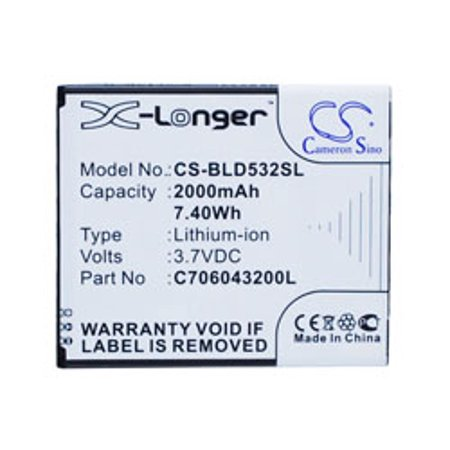 Replacement for CS-BLD532SL CS-BLD532SL BLU MOBILE, SMARTPHONE BATTERY BLACK replacement