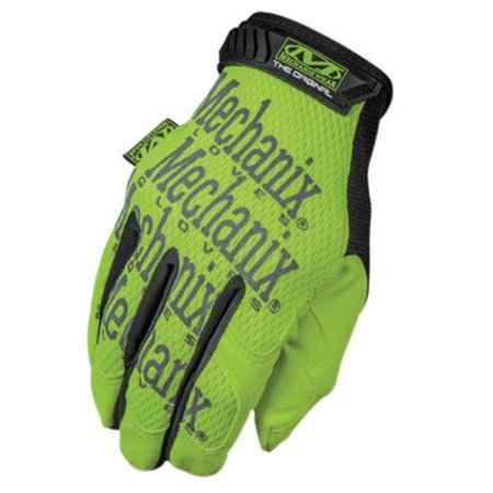 Mechanix Wear Small Hi-Viz Yellow Safety Original Full Finger Synthetic Leather Mechanics Gloves With Hook And Loop Cuff, Clarino Synthetic Leather Padded Palm, Reinforcement Panels And 3M Sc