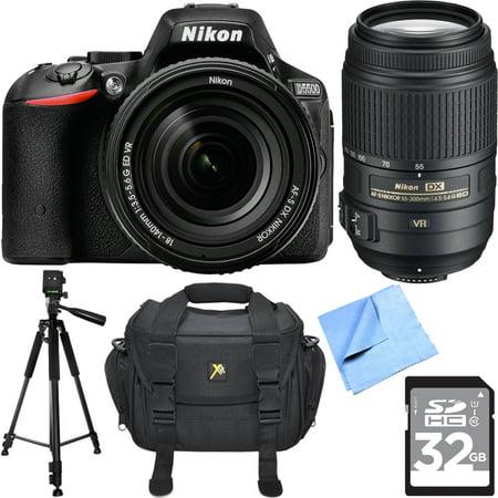 Nikon D5500 DX Digital SLR Camera w/ 18-140mm + 55-300mm Dual Lens 32GB Bundle