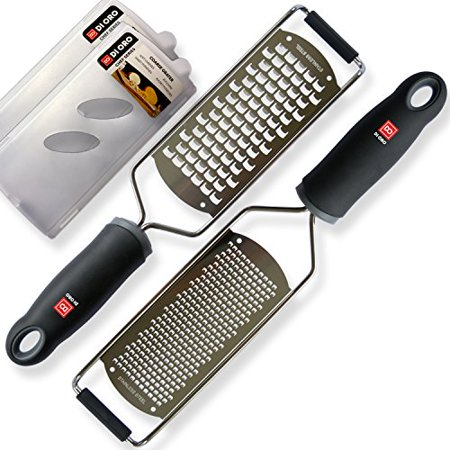 Di Oro Living Premium Lemon Zester   Cheese Grater 2 Piece Set   18 8 Stainless Steel Blades  Ergonomic Handles  Black