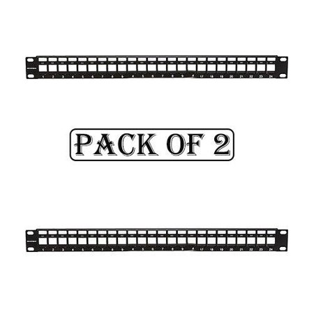 2x 24 Port Keystone Jack Blank Patch Panel Plate Cat5/5e Cat6 Cat6a RJ-45 19