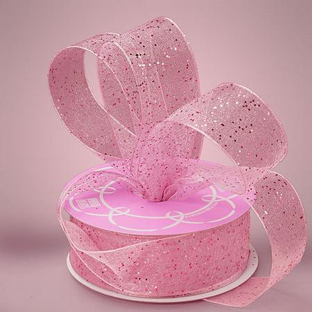 - Pink 1-1/2 inch x 25 yards Gemstone Dust Sheer Glitter Sparkle Ribbon