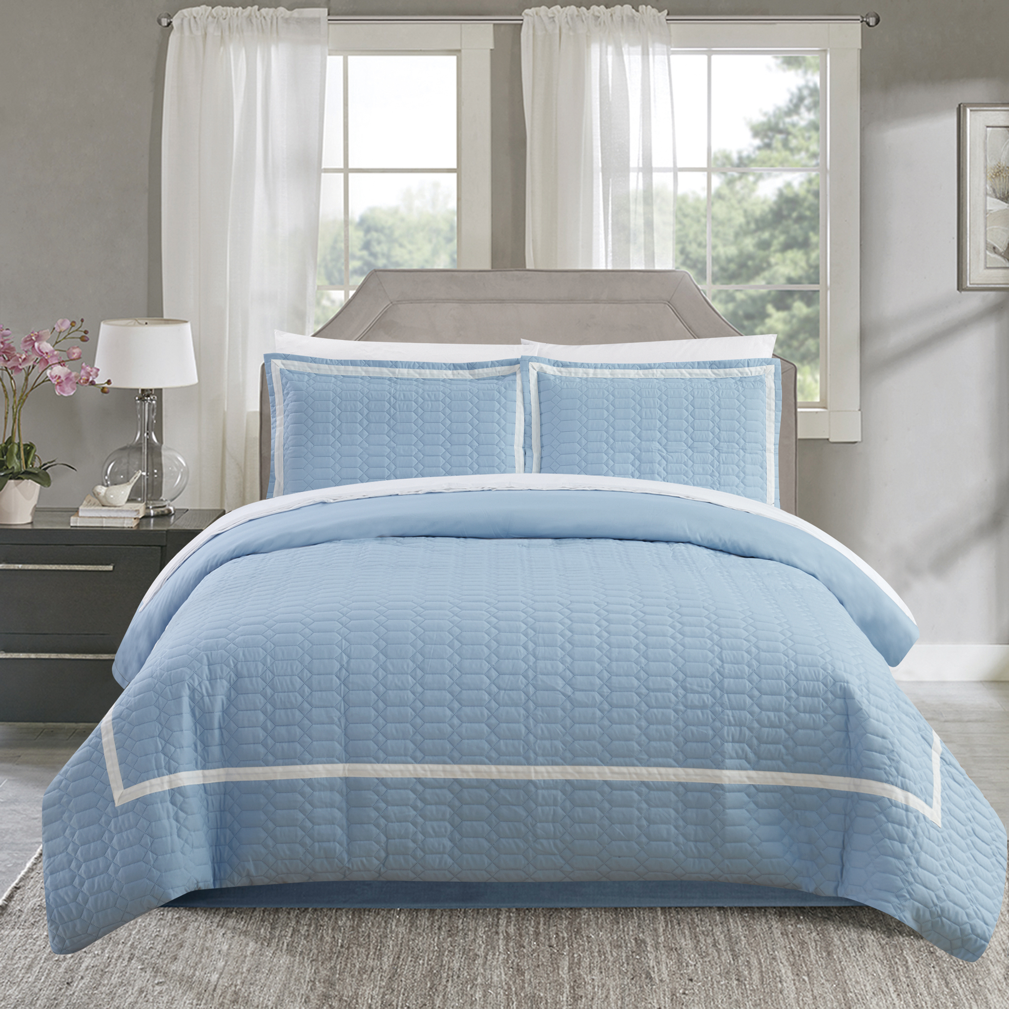 Chic Home Krystel 3 Piece Duvet Cover Set Hotel Collection Two Tone Banded Print Zipper Closure Bedding - Decorative Pillow Shams Included, King Blue