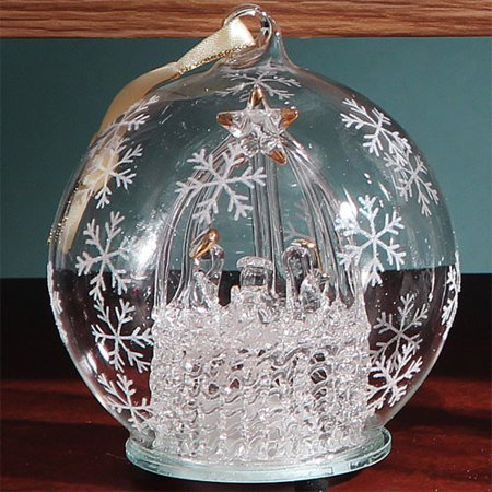 The Holiday Aisle Light Up Glass Nativity Ornament