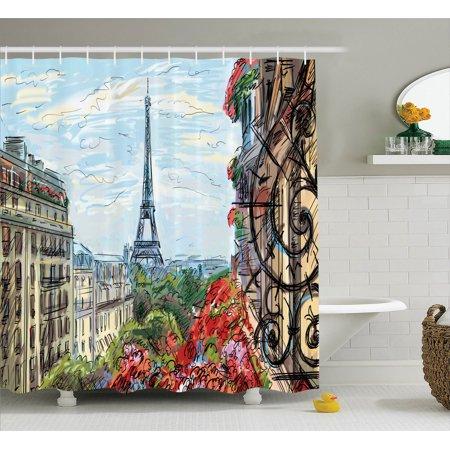 Paris City Decor Shower Curtain Set, Street In Paris Town Traffic ...