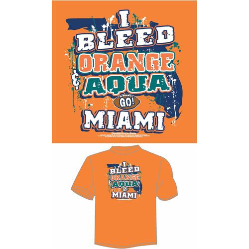 "Miami Football ""I Bleed Orange and Aqua, Go Miami"" T-Shirt, Orange"