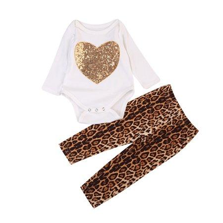 Leopard Heart Pants - Newborn Baby Girls Long Sleeve Heart Romper Tops + Leopard Leggings Long Pants 2Pcs Outfits
