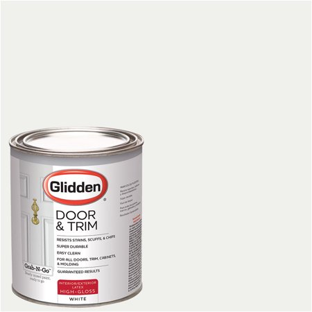 - White, Glidden Door & Trim Paint, Grab-N-Go, High Gloss Finish,1 Quart