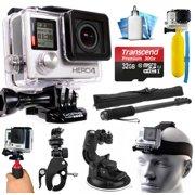 GoPro HERO4 Hero 4 Black Edition 4K Action Camera Camcorder with 32GB MicroSD Card, Selfie Stick, Handlebar Mount, Windshield Cup, Helmet Strap, Floating Bobber, Mini Tripod, Cleaning Kit (CHDHX-401)
