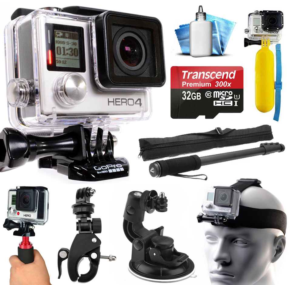 GoPro HERO4 Hero 4 Black Edition 4K Action Camera Camcorder with 32GB MicroSD Card, Selfie Stick, Handlebar Mount, Windshield Cup, Helmet Strap, Floating Bobber, Mini Tripod, Cleaning Kit (CHDHX-401)