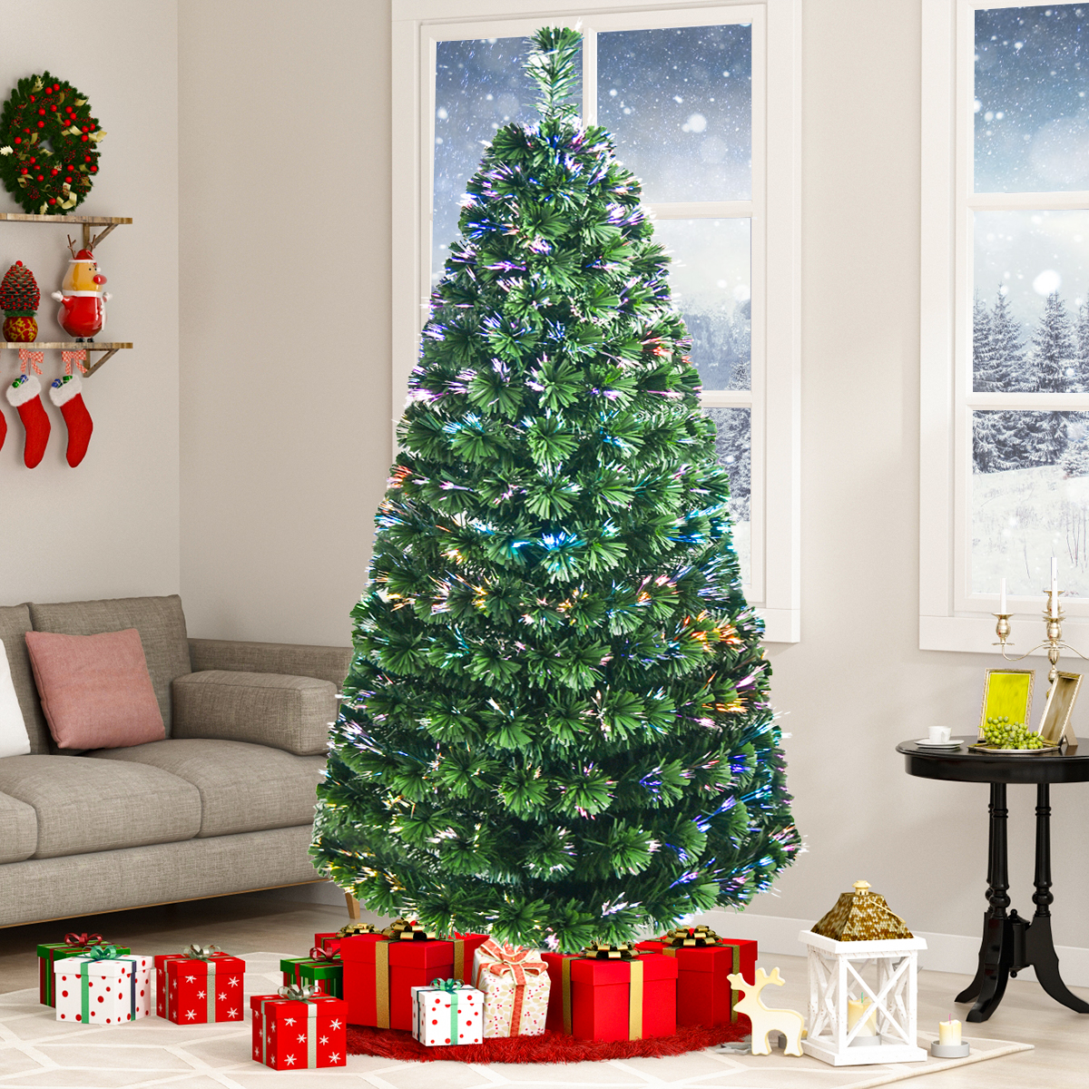 Best Choice Products 7 Fiber Optic Artificial Christmas Pine Tree W 270 Ul Certified Multi Color Lights Led Lights With Star On Top Walmart Com Walmart Com