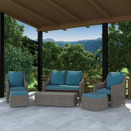 COSCO Outdoor, 6 Piece Patio Outdoor Set, Multifunctional Ottomans/Tables, Gray Wicker, Teal Blue (6 Piece Patio)