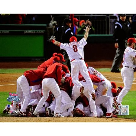 The Philadelphia Phillies After Winning Game 5 And The 2008 World Series Celebrating At Citizens Bank Park October 29 2008 Photo Print
