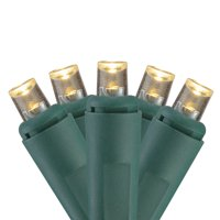 Set of 100 White LED Wide Angle Christmas Lights - 33 ft Green Wire