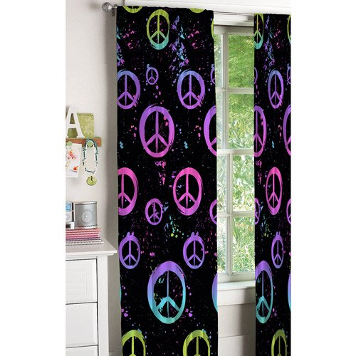 Your Zone Peace Sign Kids Bedroom Curtains - Walmart.com