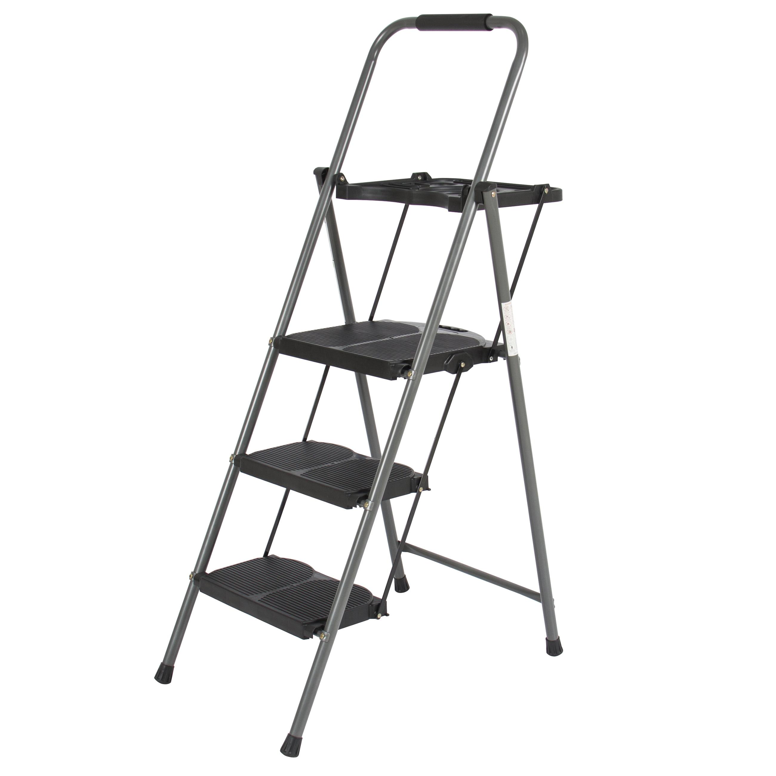 3 Step Ladder Platform Lightweight Folding Stool 330 Lbs
