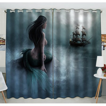 GCKG Mermaid and the Sailing Ship Blackout Curtains Window treatment Panel Drapes 52(W) x 84(H) inches (Two Piece) ()