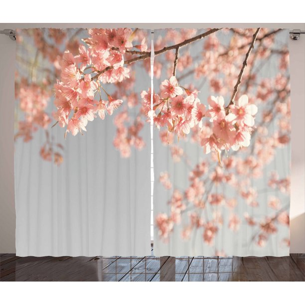 Peach Curtains 2 Panels Set, Japanese Scenery Sakura Tree