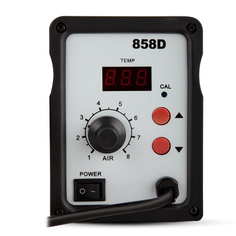 858D Electric SMD Soldering Station Welder Desolder Hot Air Heat Gun W 3 Nozzle