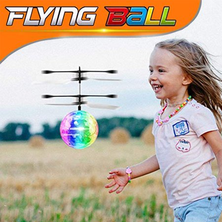 AUGIENB Electric RC Flying Ball Infrared Induction Aircraft Helicopter Crystal Flashing LED Light Toys USB Rechargeable for Kids Teenagers Birthday Christmas Gifts ()