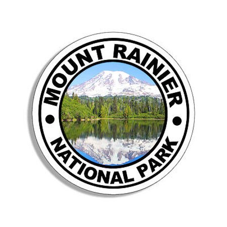 4x4 inch Round MOUNT RAINIER National Park Sticker - mt hike camp rv (Best Camping At Mt Rainier)