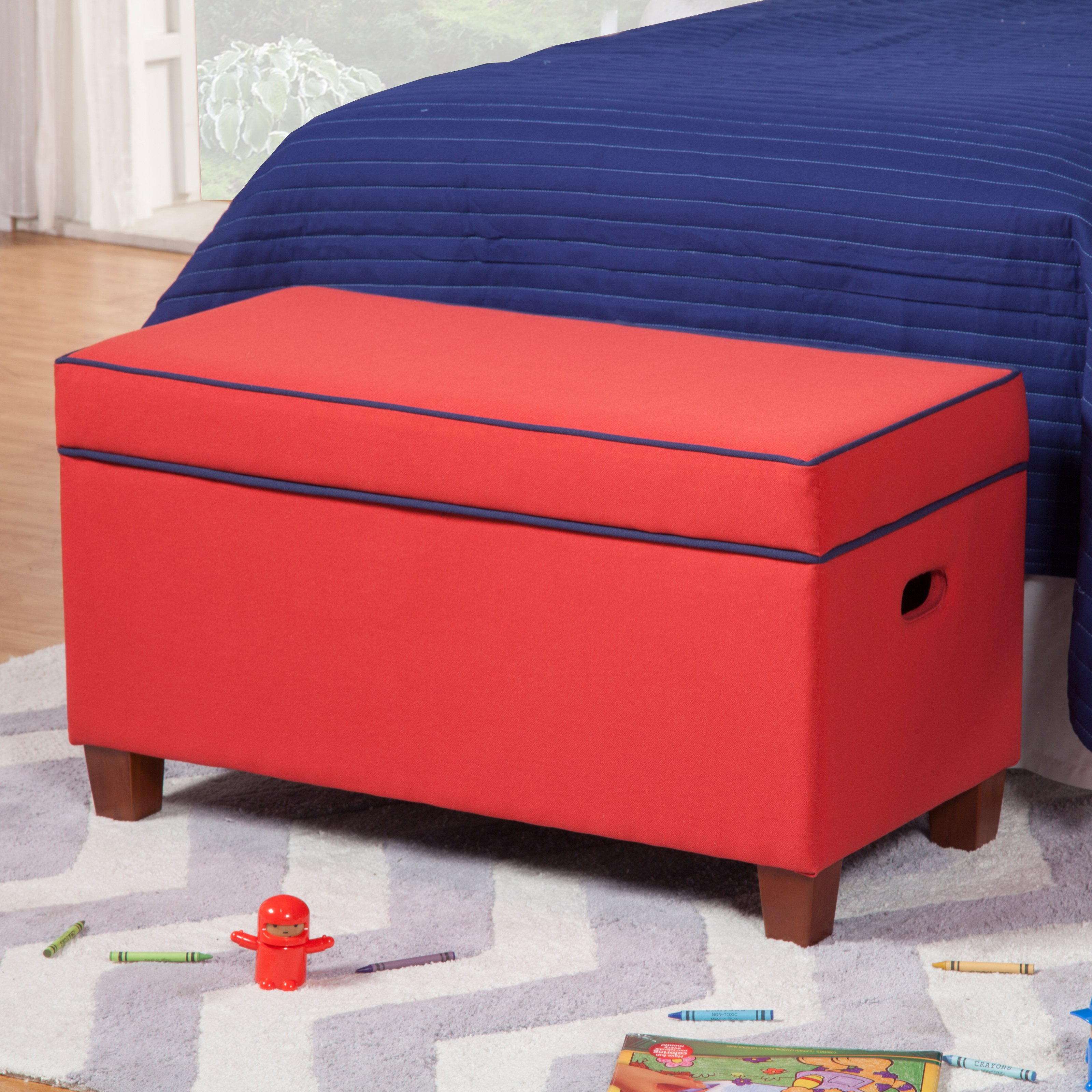 Kinfine Upholstered Kids Storage Bench - Red