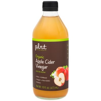 plnt Organic Apple Cider Vinegar with Mother  Supports Digestion, Raw  Unfiltered, NonGMO, Vegan  USDA Certified Organic (16 Fluid Ounces