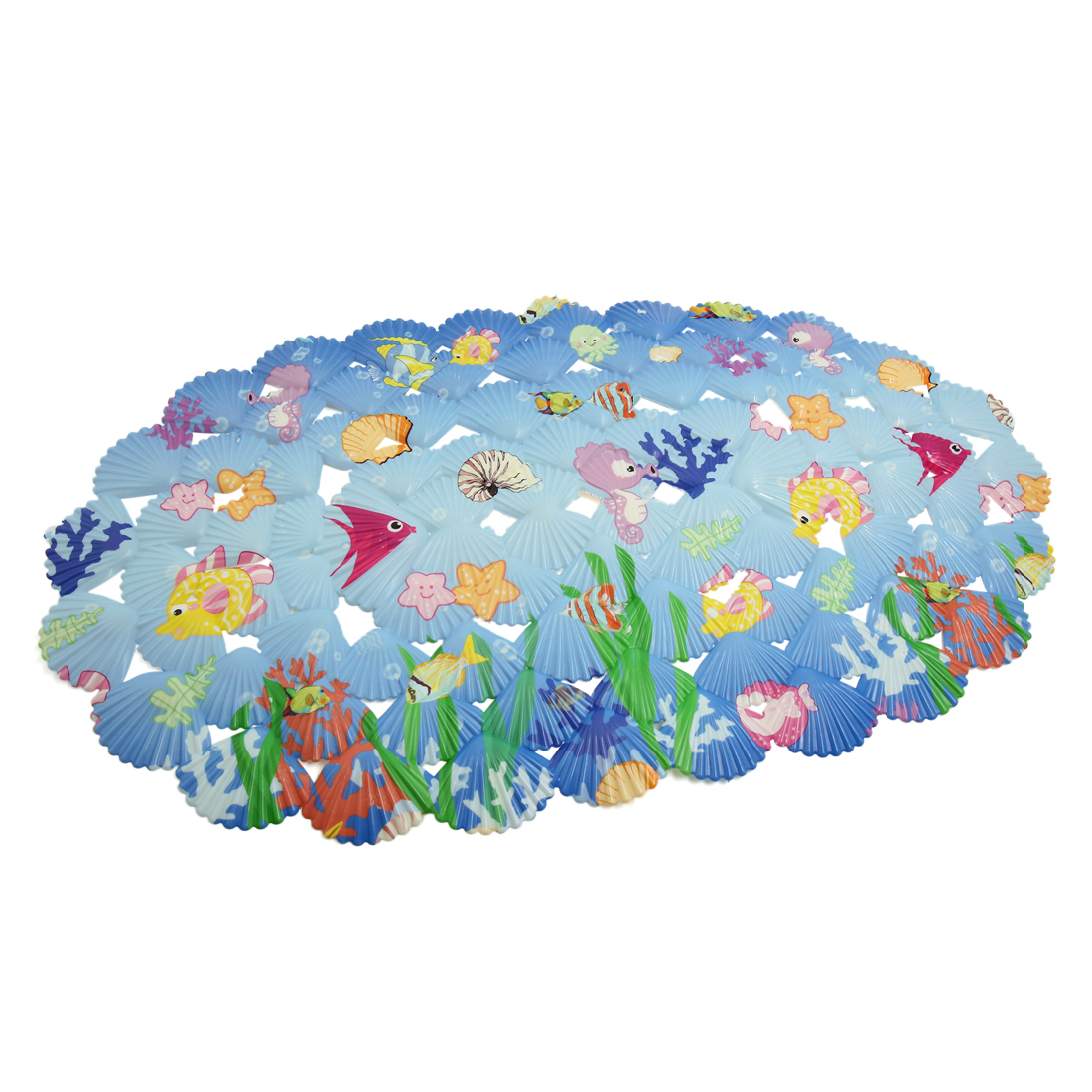 Non Slip Shower Stall Bath Tub Mat Blue Cartoon Fish