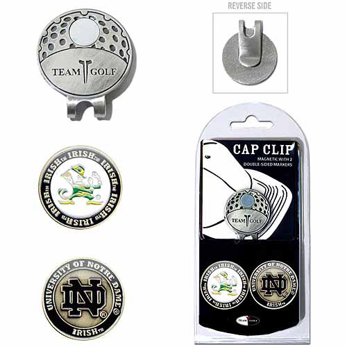 Team Golf NCAA Notre Dame Cap Clip With 2 Golf Ball Markers