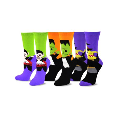 TeeHee Novelty Halloween Fun Crew Socks for Women 3-Pack