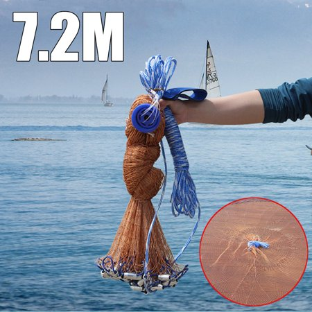 12X24FT(7.2M) Fishing Network Mesh Cast Net Saltwater Bait Casting Net Easy Throw Strong Nylon Line with