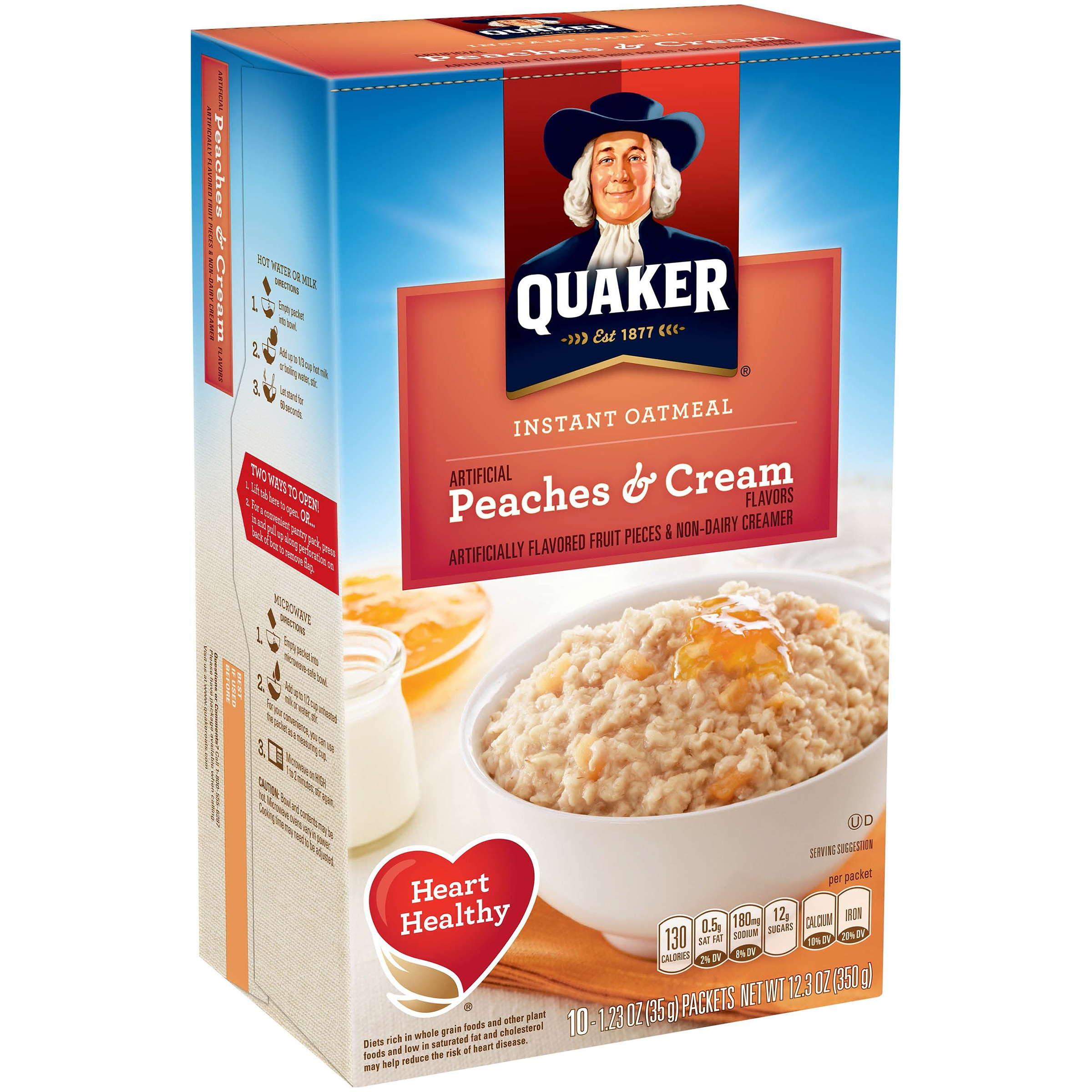 (4 Pack) Quaker Instant Oatmeal, Peaches & Cream, 10 Packets