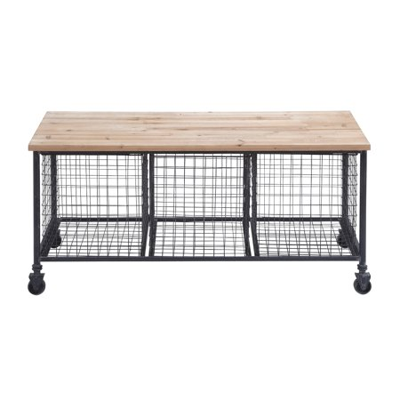 Decmode Industrial 19 X 39 Inch Rectangular Wood and Iron Rolling Storage Bench With Baskets, Brown Aged Iron Accent Bench