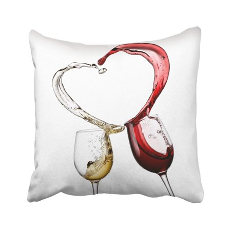 ARTJIA Love Red And White Wine Heart Splash Glass Valentine Day Swirl Dinner Drink Winery Pillowcase Pillow Cover 20x20 inches (Valentine Drinks)