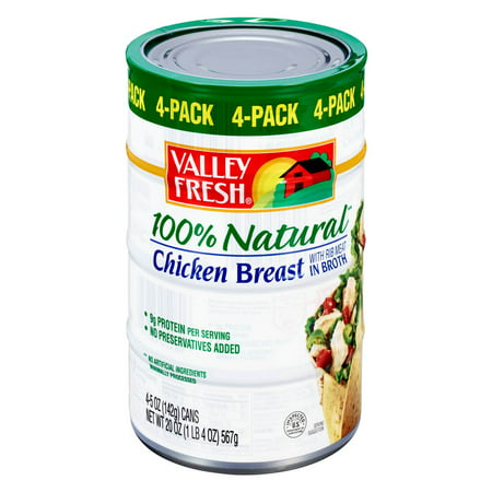 (4 Pack) Valley Fresh 100% Natural Canned Chicken Breast with Rib Meat in Broth, 5 oz 100% Natural Chicken Breast