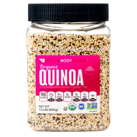 (2 Pack) BetterBody Foods Tri-Color Organic Quinoa, 24 ounce