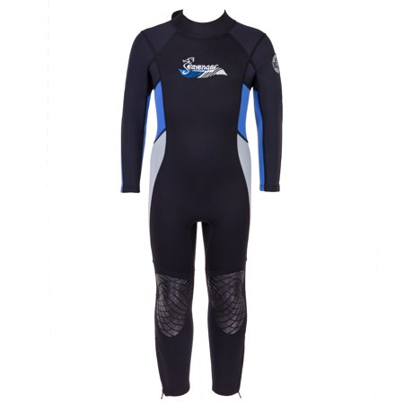 Seavenger 3mm Kids Full Body Wetsuit with Knee Pads for Surfing, Snorkeling, Swimming (Ocean Blue, 8)