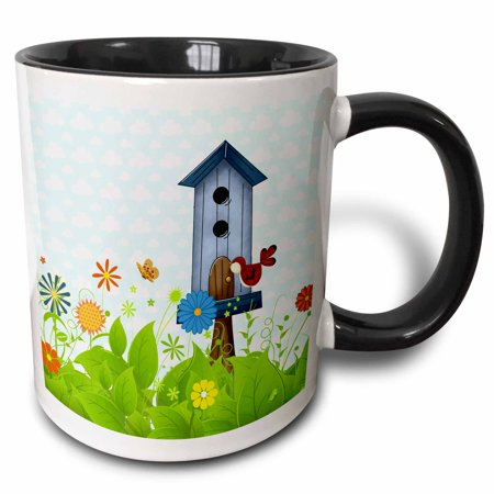 3dRose Red Bird and a Blue Birdhouse in a Sweet Garden of Flowers, Two Tone Black Mug, 11oz