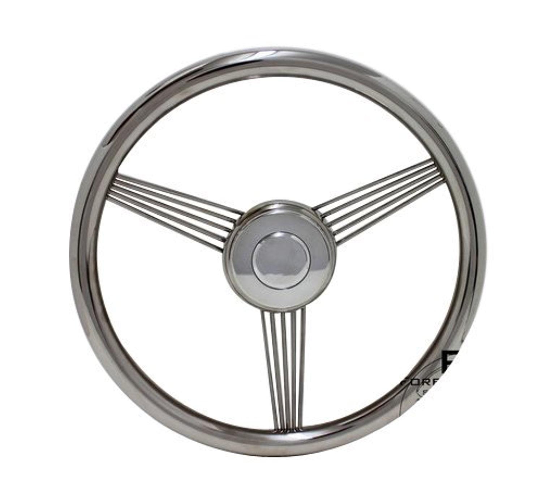 """14"""" Stainless Steel True Banjo Steering Wheel for Boats"""