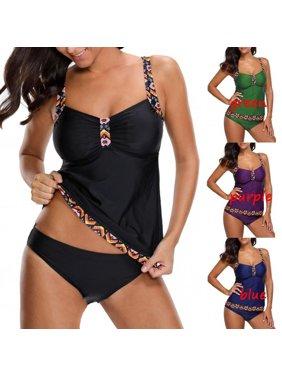 7ed604fa25 Product Image Women's Fashion Two Pieces Bathing Suit Patchwork Sexy  Spaghetti Strap Padded Tankini Set Swimwear