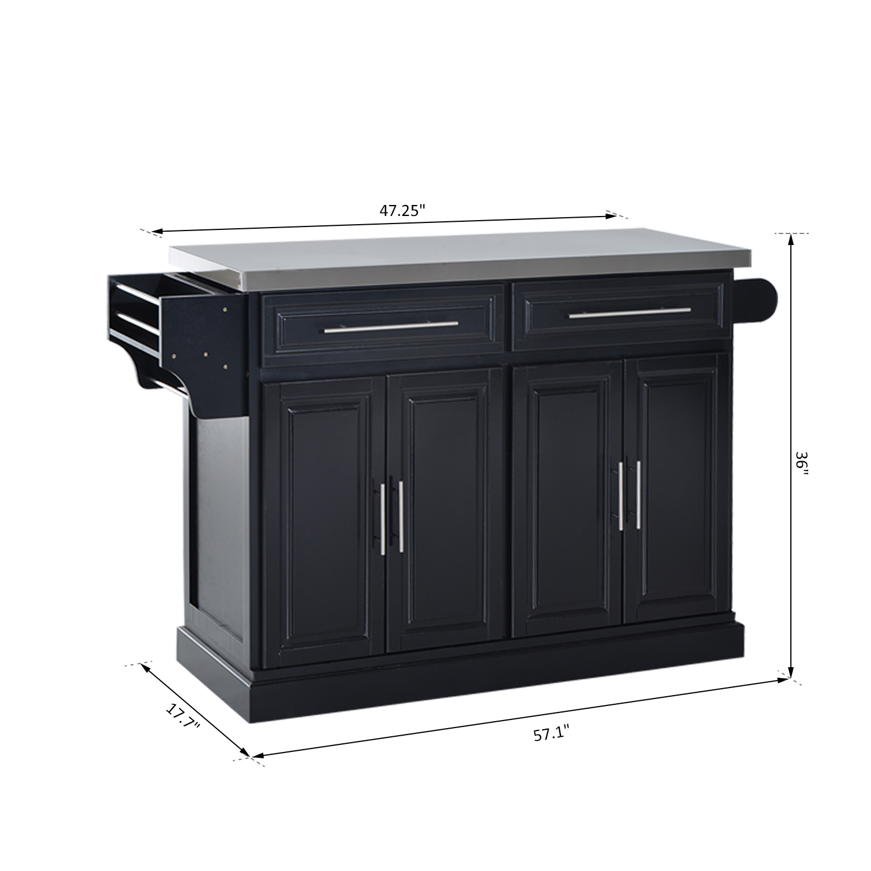 Homcom Modern Rolling Kitchen Island Storage Cart W Stainless Steel Top White Black Walmart Com Walmart Com