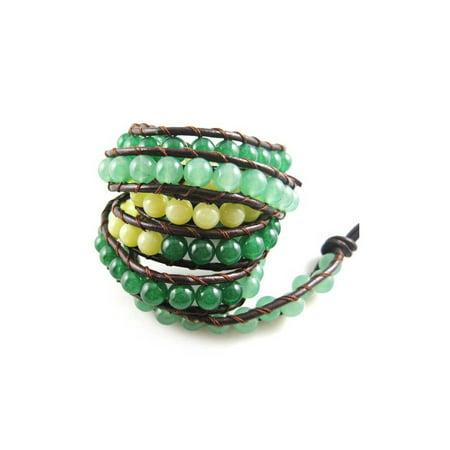 Aventurine Dyed Jade Gemstone Beads Brown Long Leather Wrap Bracelet Jade Mens Bracelet
