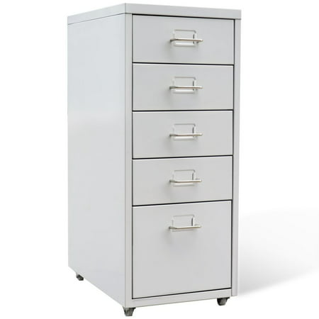 vidaXL Metal Filing Cabinet with 5 Drawers Gray ()