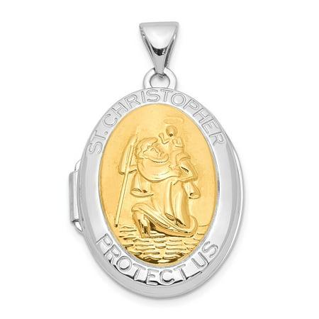 Sterling Silver Yellow Rhodium 23mm Saint Christopher Locket - 2.5 Grams - Saints Birthday