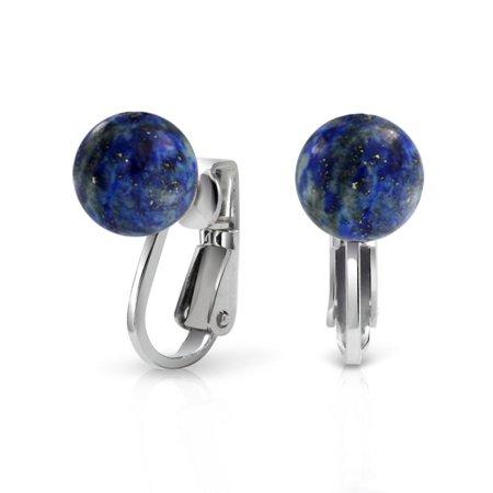 Gemstone Blue Lapis Lazuli Round Ball Stud Clip On Earrings For Women Non Piercing 925 Sterling (Non Piercing Earrings)