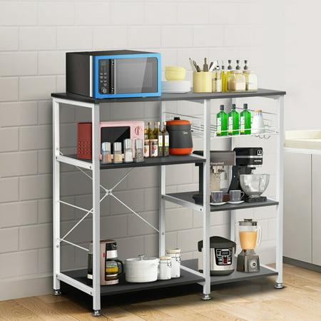 Kitchen Baker's Rack Utility Storage Shelf Microwave Stand 3-Tier + 3-Tier Kitchen Storage Cart Table for Spice Rack Organizer Workstation with Hooks Bakers Utility Shelf