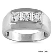 10k Gold 1/4ct TDW Men's Diamond Ring (I-J, I1-I2) White Gold - Size 11